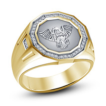 14k Gold Finish 925 Sterling Silver Mens Diamond Wedding Engagement Eagl... - $92.99
