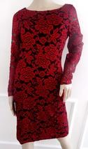 Nwt Eliza J Stretch Lace Cocktail Party Sheath Long Sleeve Dress Sz 4 Black Ruby - $62.32