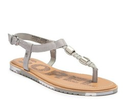 SOREL Ella T-strap Sandals Dove gray Flat  8.5 M NEW - $38.51