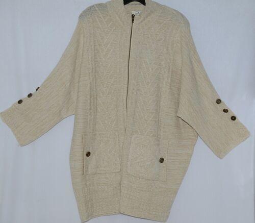 Simply Noelle Brand JCKT222LXL Womens Pearl Zipper Sweater Jacket Size L XL