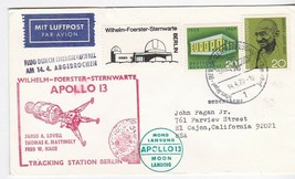 APOLLO 13 MOON LANDING GERMAN SPACE COVER TRACKING STATION BERLIN 4/14/1970 - $1.98