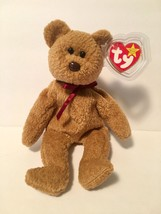 Ty Beanie Babies Plush Beanbag Curly the Bear Brown with Errors - $37.39