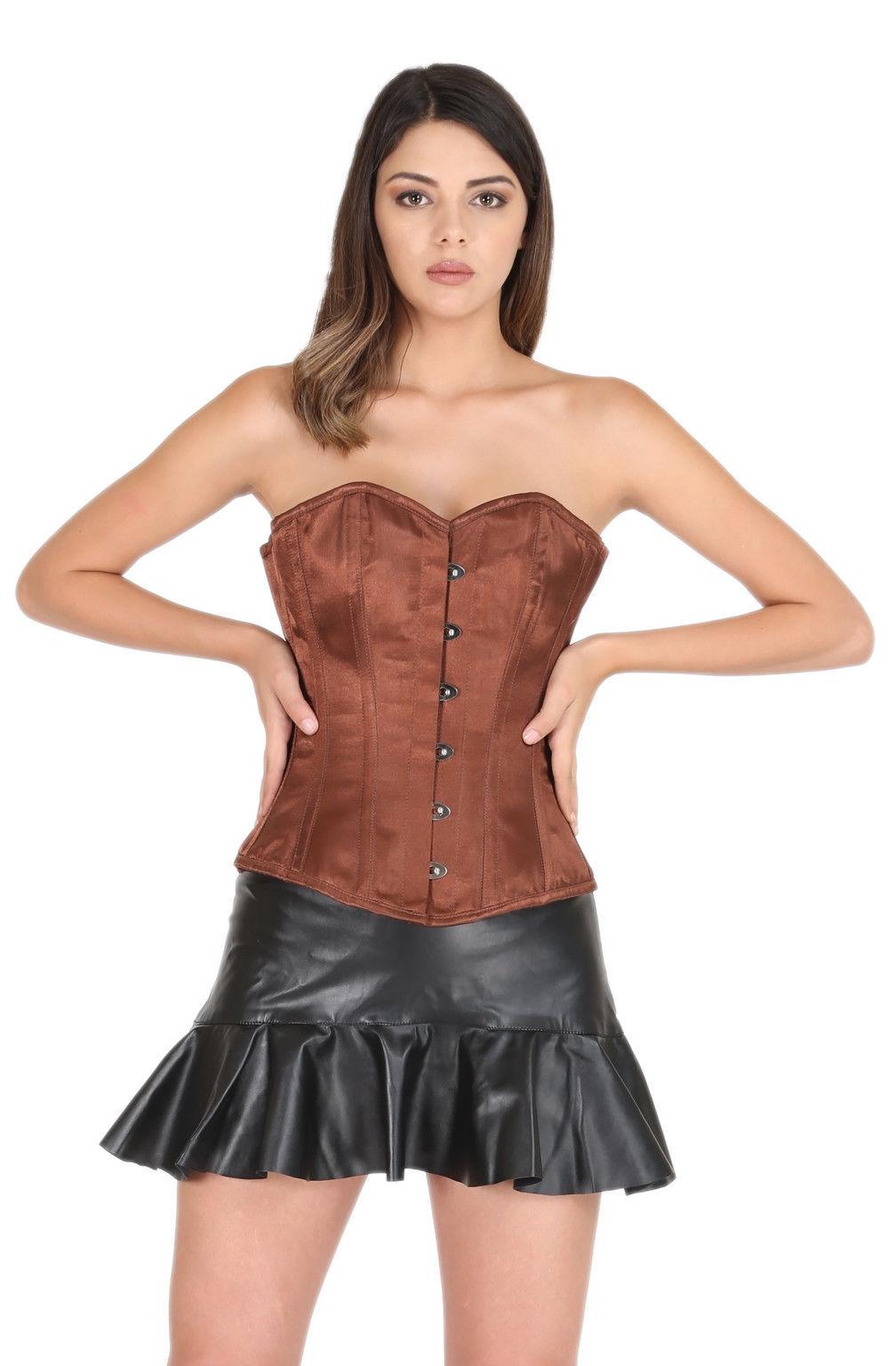 Brown Satin Gothic Burlesque Waist Training Bustier Overbust Prom Corset Top