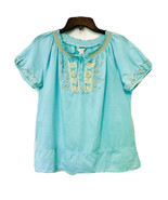 KC Khakis & Co. Womens Mint Peasant Embroidered & Beaded Short Sleeve To... - $18.67