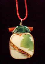 """Ming Dynasty Chard Necklace/Pendant~17.5""""~Braided Rose Cord~Silver Clasp - $14.85"""