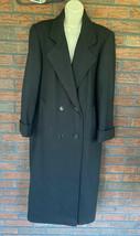 Full Length Wool Coat Medium Black Glam USA Made Vintage Shoulder Pads VTG - $73.50