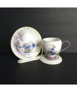 Lena Liu Teacup Saucer Stand Teleflora Tea Cup Set Floral Butterflies Pu... - $24.74
