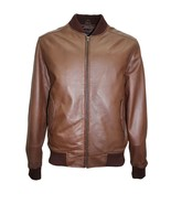 """New Brown Classic Retro Bomber Men's 70""""s Fashion Real Lambskin Leather Jacket - $152.46"""