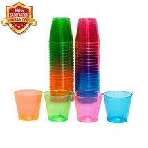 Assorted Neon Plastic Cups Glow In The Dark Party Cup Lights Shot Glass ... - $9.06