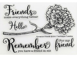 Technique Tuesday Carnation Friends Clear Cling Stamp Set #GSCFr image 2