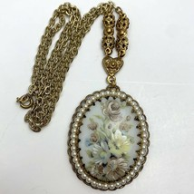 Vintage Western Germany Necklace Floral Flower Oval Faux Pearl Gold Tone... - $22.24