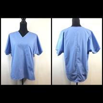 SB Scrubs Top Nursing Uniform Unisex Size SMALL Blue V-Neck Cotton & Pol... - $5.37