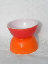 Pr Vintage Orange and Red Fired-on Milk Glass Cereal Bowls w/Orange Peel... - $9.99