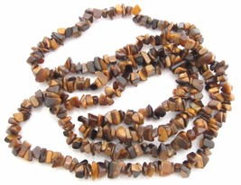 Long Vintage Tiger'S Eye Gemstone Bead Endless Necklace*Brown*Jewelry*34... - $42.56