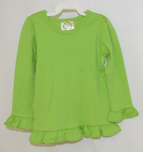 Blanks Boutique Girls Lime Green Long Sleeve Ruffle Tee Shirt Size 2T