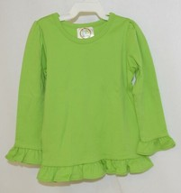 Blanks Boutique Girls Lime Green Long Sleeve Ruffle Tee Shirt Size 2T image 1