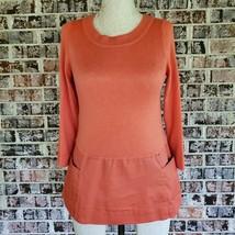 Anthropologie Moth Sweater XS Wool Blend  Orange Thin Knit Scoop Neck 3/... - $27.67