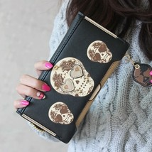 Fashion PU Leather Women Wallets Personality Punk Skeletons Skull Long Clutch Ch - $21.67