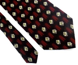 Henry Grethel Silk Geometric Design Neck Tie Burgundy Red Brown Made in USA - $4.94