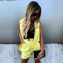 New yellow two piece suit set sleeveless waistcoat women vest high waist... - $36.00