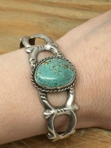OLD PAWN NAVAJO HAND STAMPED STERLING SILVER TURQUOISE CUFF BRACELET! - £72.30 GBP