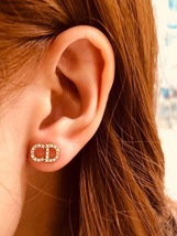 Authentic Christian Dior CD Crystal Logo Stud 2019 Gold Earrings STUNNING image 8
