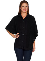 DENIM CO. Size XL Stand Collar Button Front Cable Detail Poncho Sweater ... - $59.37