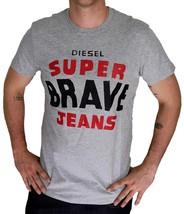 NEW DIESEL MEN'S PREMIUM COTTON SUPER BRAVE GRAPHIC T-SHIRT T-ASTERIOS GREY image 2