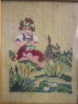 ANTIQUE NEEDLEPOINT PETIT POINT in GILDED WOOD FRAME GIRL and BUNNY by L... - £10.98 GBP
