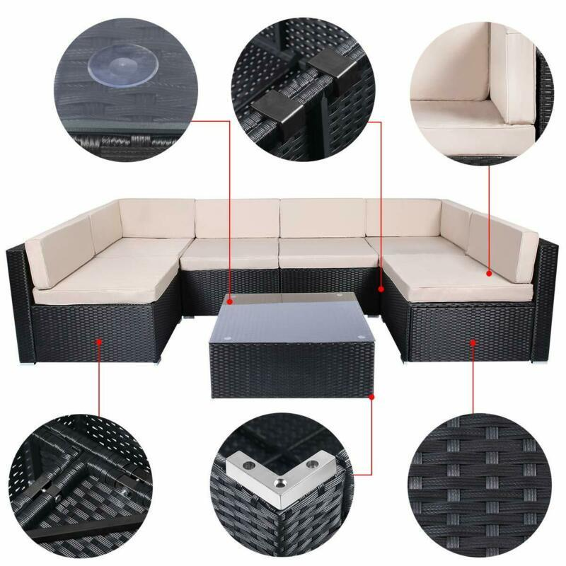 Deluxe Set of 7 Pcs Patio Outdoor Comfortable Stylish Design Rattan Wicker Sofa