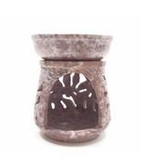Natural Oil Diffuser Soapstone Oil Burner Round Candle Holder Handmade L... - $25.68