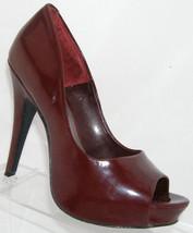 Jessica Simpson 'Amanda' burgundy peep toe man made platform heel 7B - $27.44