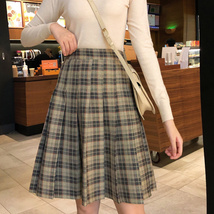 Knee Length Pleated Plaid Skirt Women Plus Size Navy Black Pleated PLAID SKIRTS image 5