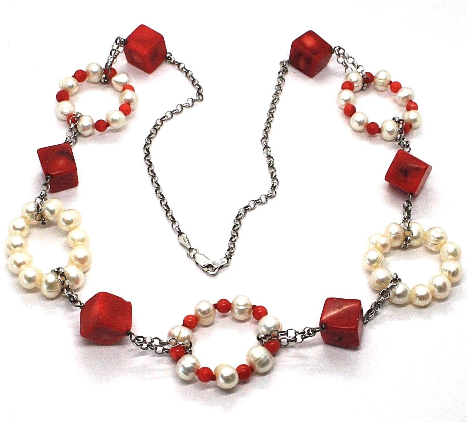 Silver necklace 925, Circles pearls and coral Alternating, Coral cubes