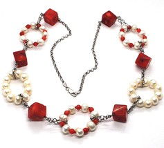 Silver necklace 925, Circles pearls and coral Alternating, Coral cubes image 1