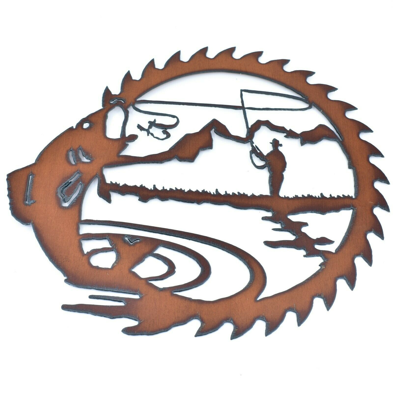 "Rustic Rusted Patina Iron Metal Cutout Saw Fly Fishing Design 12"" Wall Decor"