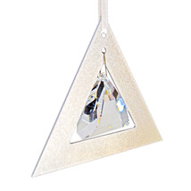 Aluminum and Crystal Triangle Ornament  Pyramid Drop image 3