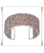 BEADED CUFF BRACELET ~Shimmering Bugle Beads 30mm Wide! - £5.38 GBP