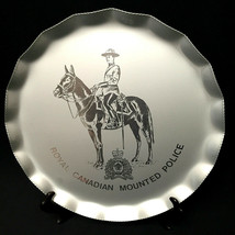 Royal Canadian Mounted Police Aluminum Platter Plate Fluted Silhoutte Ca... - $40.59