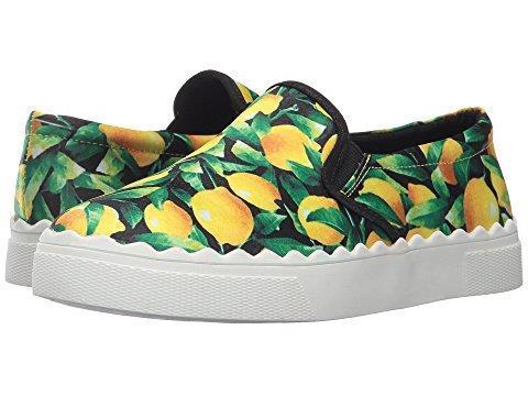 Betsey Johnson Bright Emmet LEMONS Satin-Like Fabric Slip-Ons Shoes Wms NWOT HTF