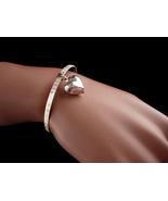 Beautiful Best friend sterling bracelet - Vintage Sterling puffy hear ch... - $125.00