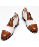 Men's Two Tone Brown White Oxford Rounded Cap Toe Black Color Sole Leather Shoes - $99.90 - $129.99