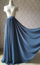 Women DUSTY BLUE Chiffon Maxi Skirt High Waist Maxi Chiffon Wedding Skirt image 1