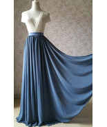 Women DUSTY BLUE Chiffon Maxi Skirt High Waist Maxi Chiffon Wedding Skirt - $58.99