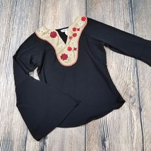 COMPO DI FIORI sz S womenoriental style floral trumpet sleeve blouse EUC... - $8.91