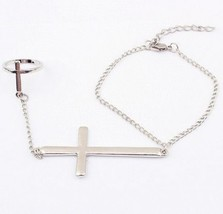 Alloy Punk Link Bracelet with Cross Ring - $5.99