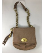 Fossil Taupe Beige Pebbled Leather Shoulder Bag Handbag Purse Brass Key ... - $67.13