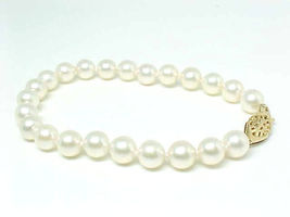 CULTURED PEARLS Strand BRACELET with 14K GOLD Clasp - 7 inches long - EL... - $180.00
