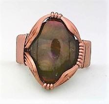 Fire Agate Copper Wire Wrap Gemstone Ring 12 - $10.29