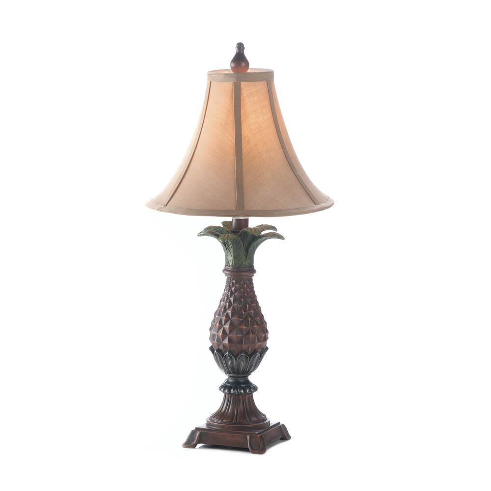 2 Classic PINEAPPLE Table Lamps with Neutral Shade